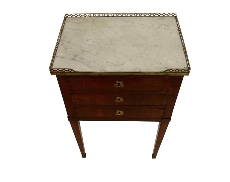 Mahogany Three Drawer Side Table with Marble Top, French 19th Century For Sale 2