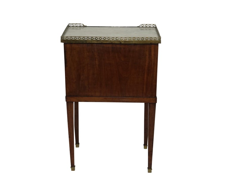 Mahogany Three Drawer Side Table with Marble Top, French 19th Century For Sale 3