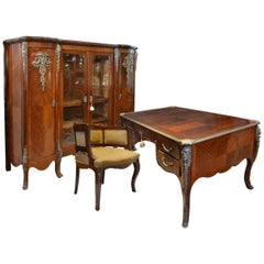 Mahogany Three-Piece Library Set with Desk, Chair and Bookcase Louis XV Style