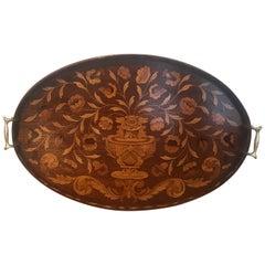 Elaborate Inlaid English Mahogany Tray Circa  1900
