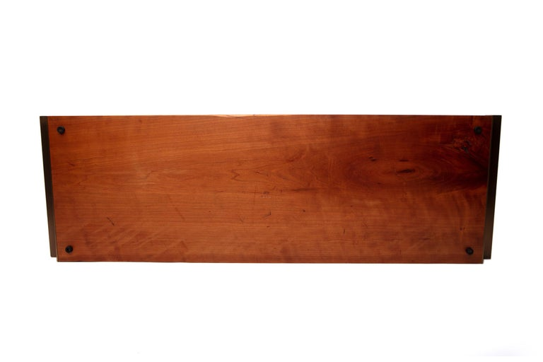 Post-Modern Mahogany Tray with Antique Brass Handles For Sale