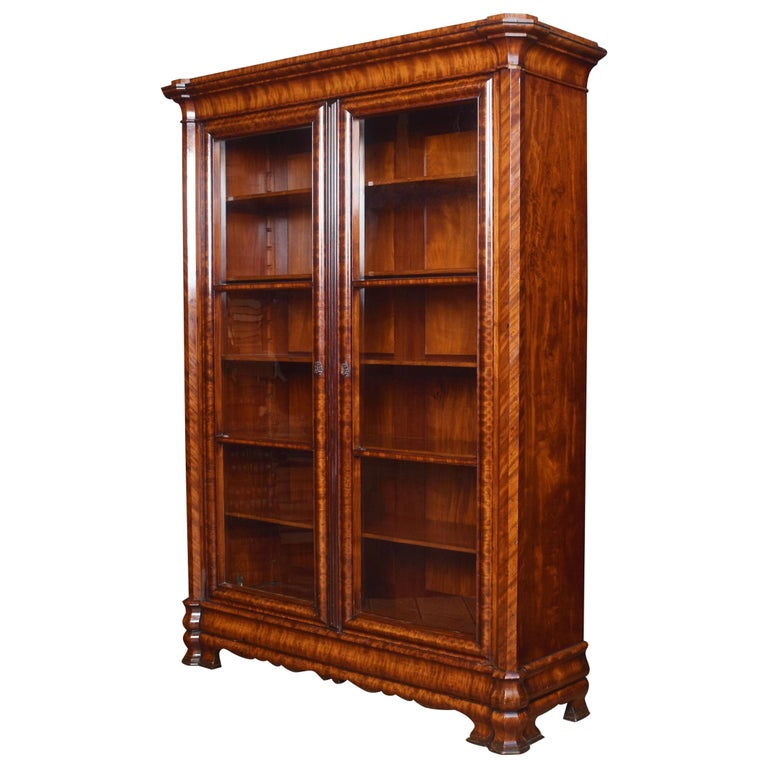 Mahogany Two-Door Bookcase For Sale