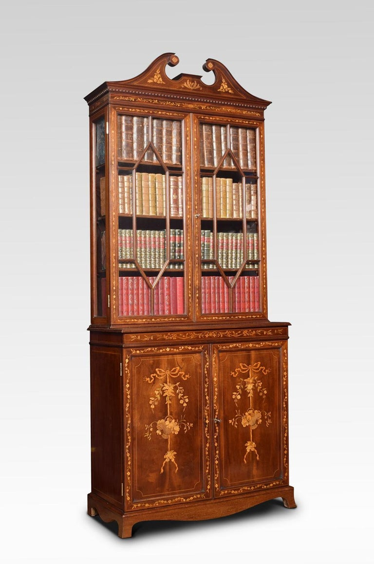 British Mahogany Two-Door Inlaid Bookcase For Sale