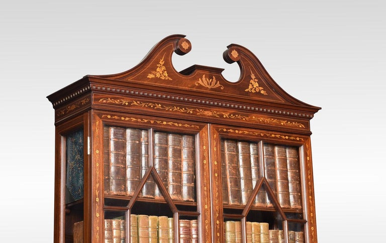 19th Century Mahogany Two-Door Inlaid Bookcase For Sale