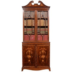 Mahogany Two-Door Inlaid Bookcase