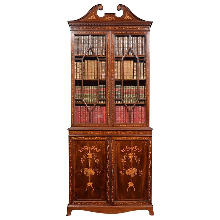Mahogany Two-Door Inlaid Bookcase For Sale