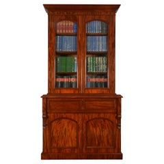 Mahogany Two-Door Secretaire Bookcase