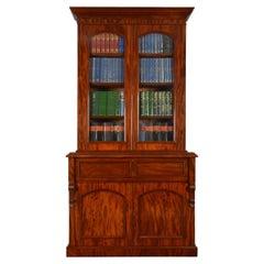Mahogany Two-Door Secretaire Bookcase