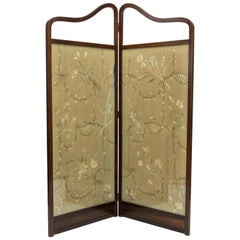 Mahogany Two Fold Needlework Screen