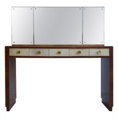 Mahogany Vanity Table with Mirror and a Stool