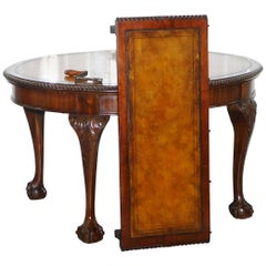 Mahogany Victorian Extending Dining Table, Hand Dye Brown Leather, Claw & Ball