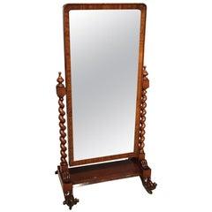 Mahogany Victorian Period Cheval Dressing Mirror