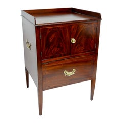 Mahogany Washstand Side Table Cabinet, English, circa 1840