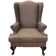 Mahogany Wingback Chair Newly Upholstered with Ralph Lauren Tartan Wool