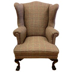 Mahogany Wingback Reading Chair Newly Upholstered with Ralph Lauren Tartan Wool