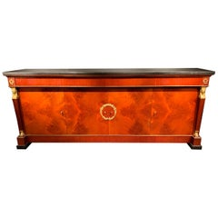 Mahogany with Bronzes and Marble Sideboard, De Coene, Empire Style, 1950s