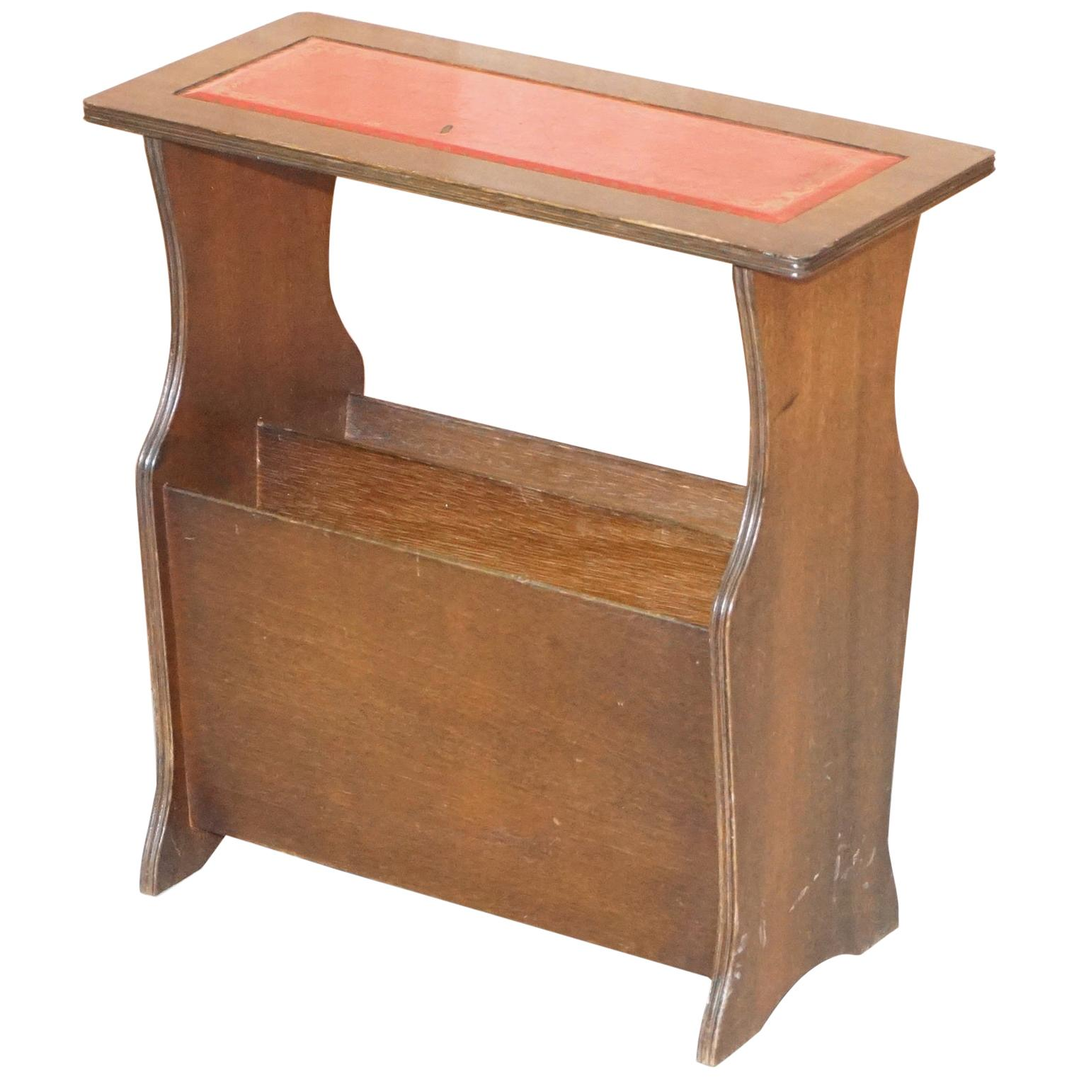 Hardwood with Faded Oxblood Leather Top Bevan Funnell Side Table Magazine Rack