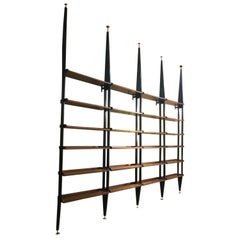 Mahogany Wood Adjustable Shelves Six Black Metal Uprights Bookcase, Italy, 1950s