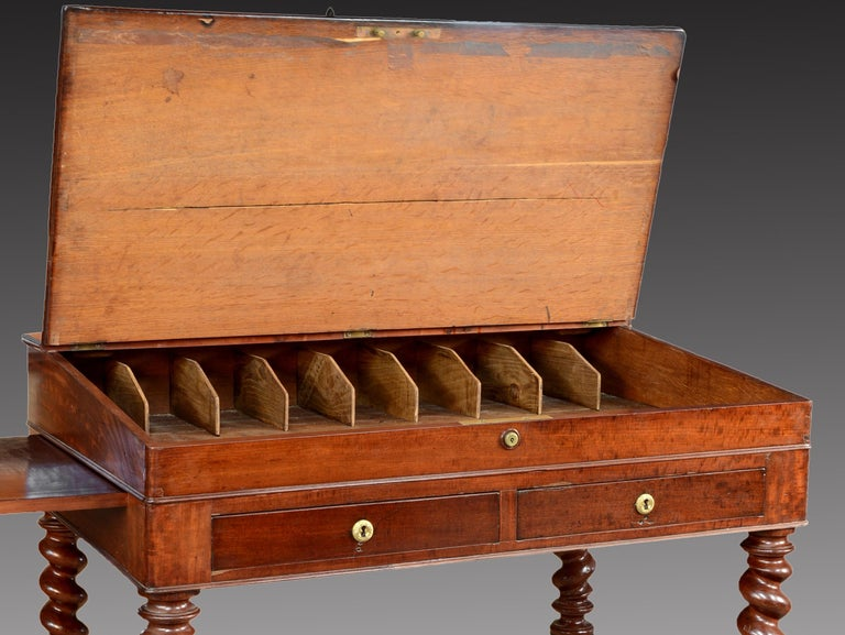 """French Mahogany Wood """"Architect Desk"""" Table, France, 19th Century For Sale"""