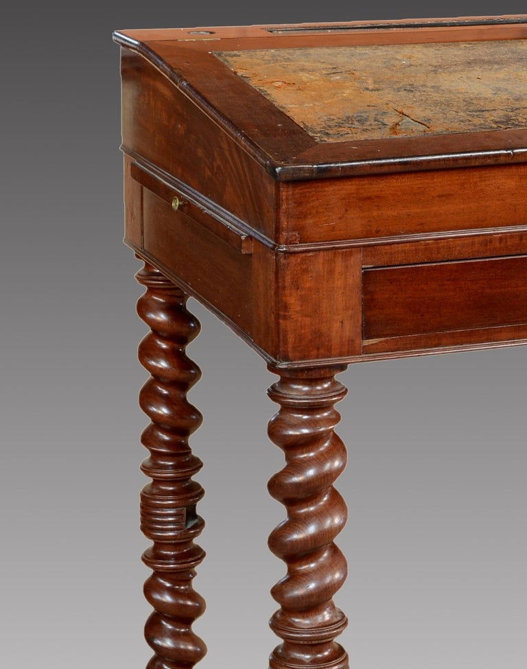"""Mahogany Wood """"Architect Desk"""" Table, France, 19th Century In Fair Condition For Sale In Madrid, ES"""