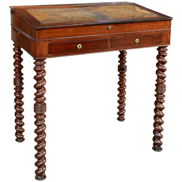 """Mahogany Wood """"Architect Desk"""" Table, France, 19th Century For Sale"""