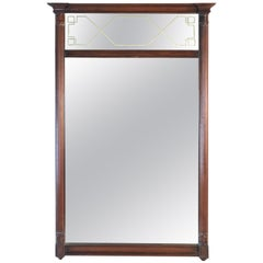 Mahogany Wood Etched Mirror with Pillars