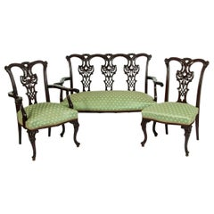 Chippendale Style Three-Piece Salon Suite