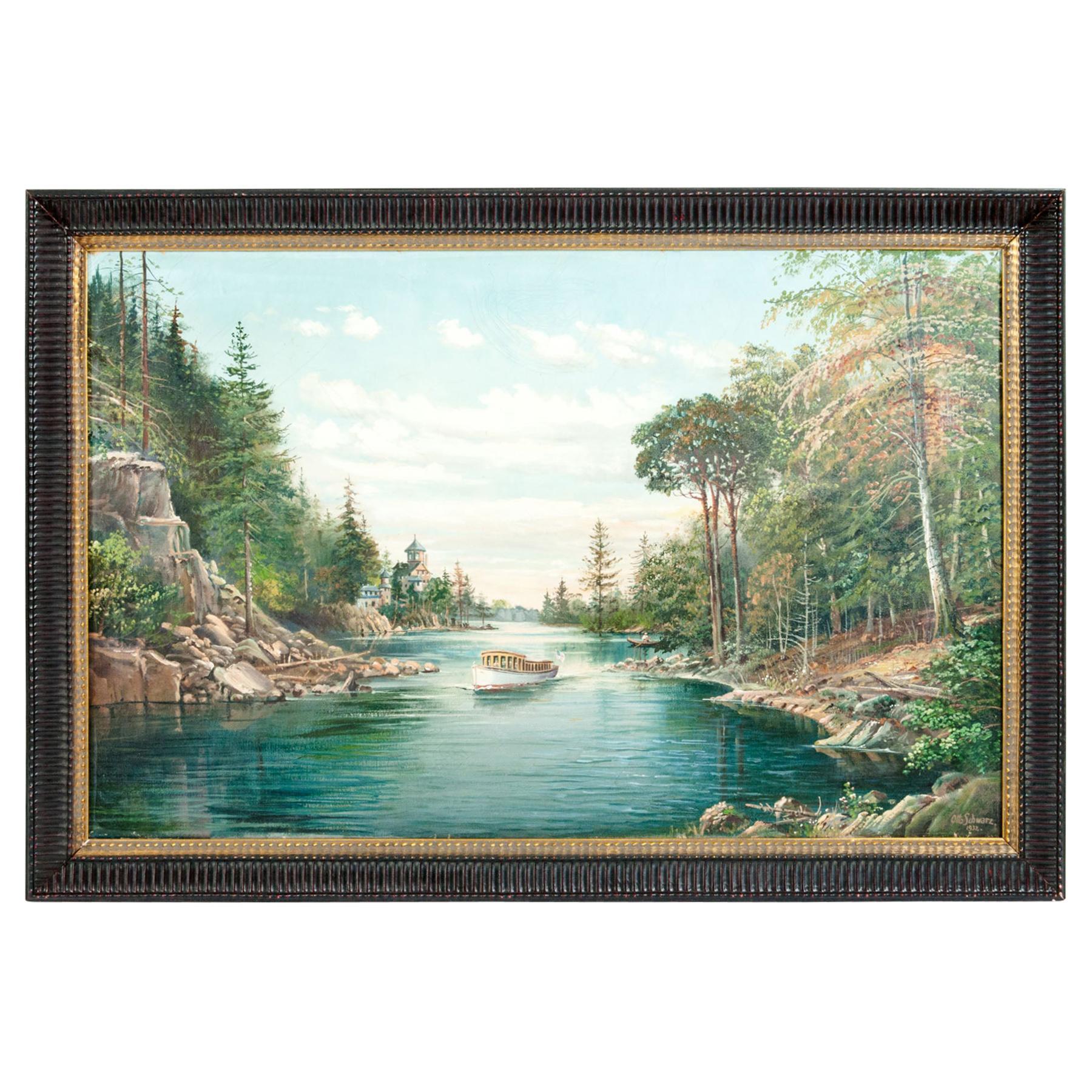 Mahogany Wood Frame Oil / Canvas Painting