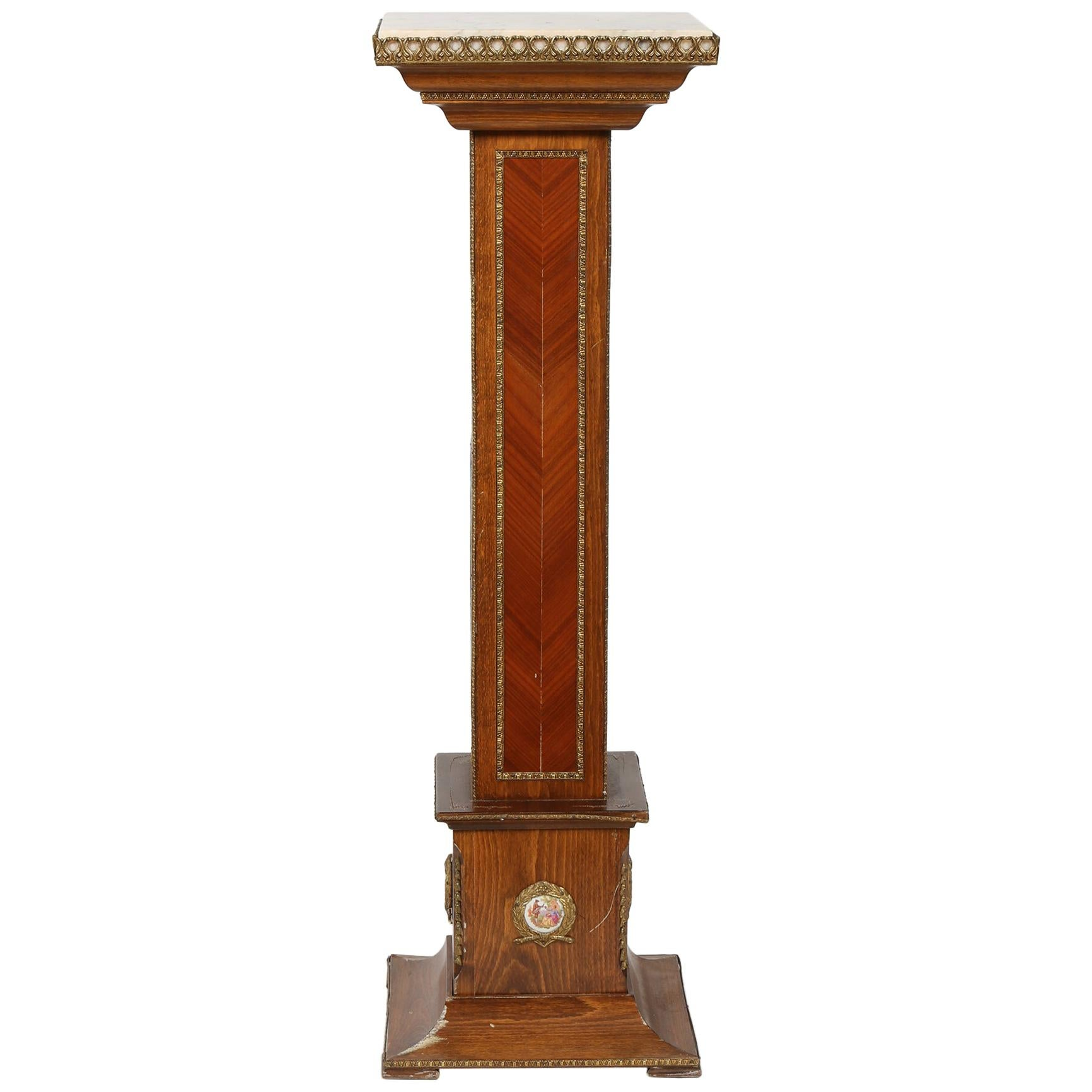 Mahogany Wood / Marble-Top Pedestal / Plant Stand