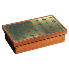 Mahogany Wood Tobacco Box with Golden and Blue Brass Lid, 1970