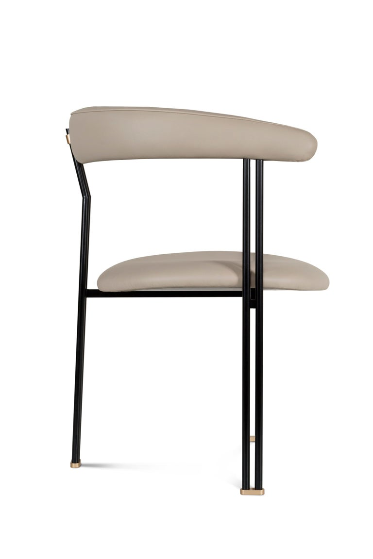 Maia Chair with Armrests Black Lacquered Metal Premium Italian Blue Leather For Sale 2