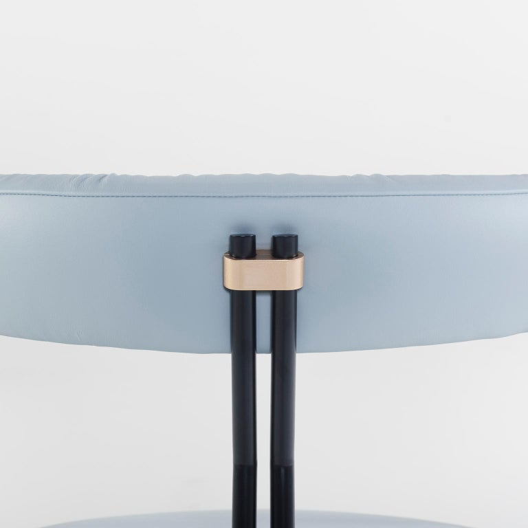 Modern Maia Chair with Armrests Black Lacquered Metal Premium Italian Blue Leather For Sale