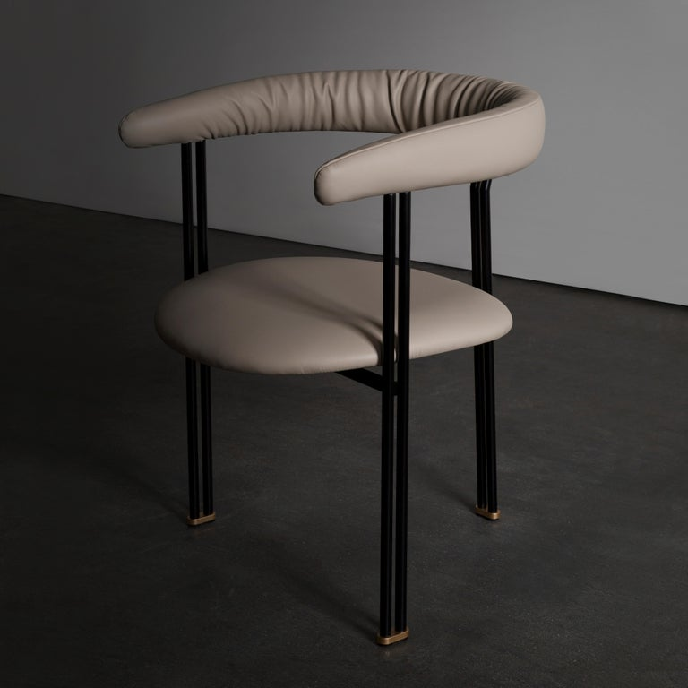 Contemporary Maia Chair with Armrests Black Lacquered Metal Premium Italian Blue Leather For Sale