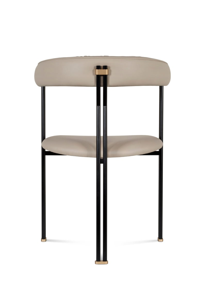 Maia Chair with Armrests Black Lacquered Metal Premium Italian Blue Leather For Sale 1