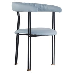 Maia Chair with Armrests Black Lacquered Metal Premium Italian Blue Leather