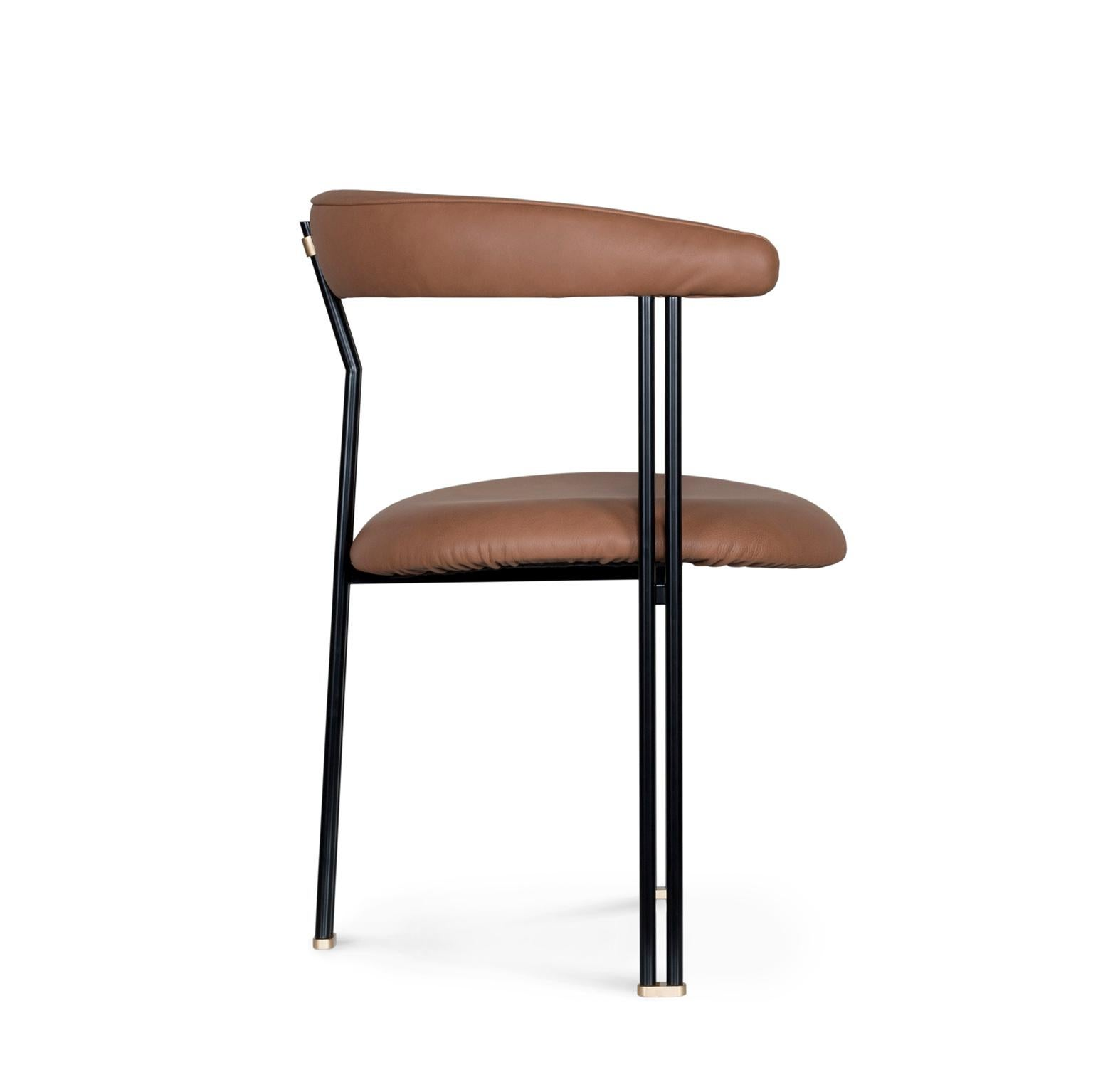 Maia Chair with Armrests Black Lacquered Metal Premium Italian Leather Caramel