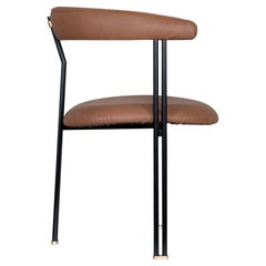 21st Century Maia Chair with Armrests Metal Premium Italian Leather Caramel