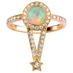 Maia Ring, Ethiopian Opal, White Diamonds, 18 Karat Rose Gold