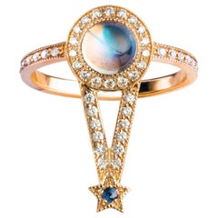 Maia Ring, Rainbow Moonstone, Diamonds, Blue Sapphire, 18 Karat Rose Gold