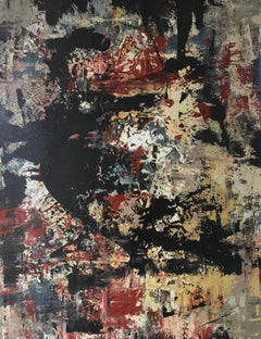 """Large Abstract Oil and Enamel Painting """"Untitled"""""""
