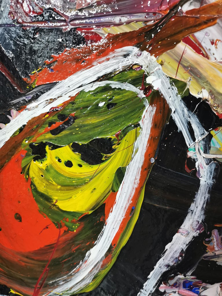 Large Double Panel Abstract Acrylic on Canvas Painting
