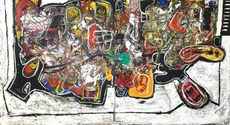 """Maico Camilo Figurative Painting - Large Double Panel Abstract Acrylic on Canvas Painting """"Equivocal"""""""