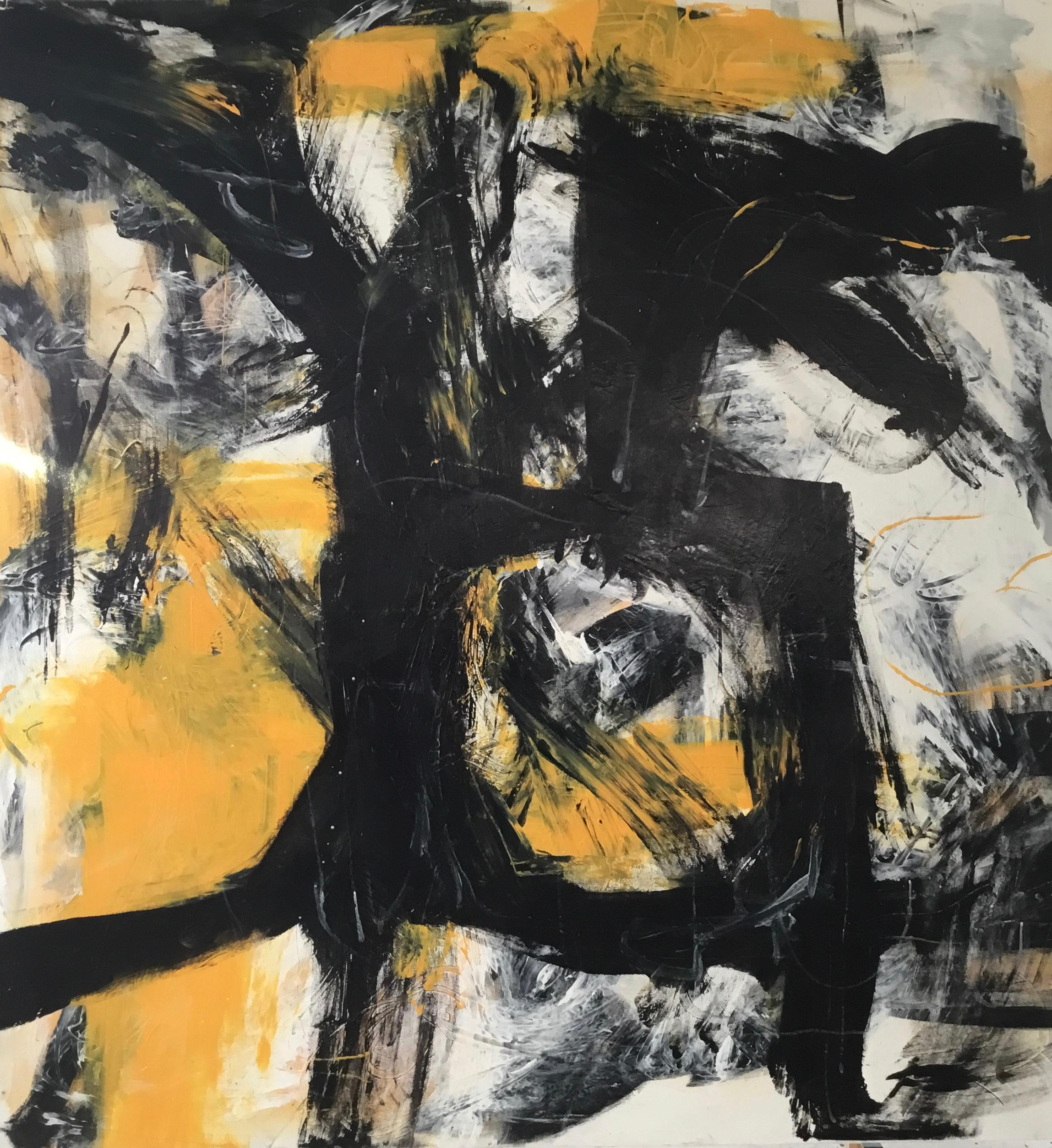 """Large Abstract Acrylic on Canvas Painting """"Untitled Yellow"""""""