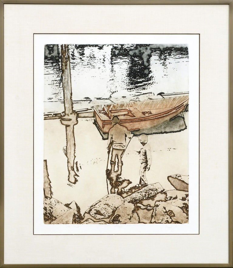 "Maidy Morhous Landscape Print - ""Crab Hunt"" Etching"