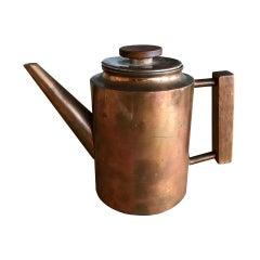 Maija Heikinheimo Copper and Teak Coffee Pot, Valaistustyö Ky for Artek, 1950's