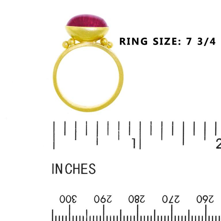 Maija Neimanis Pink Tourmaline Cabochon High Karat Gold Ring For Sale 1