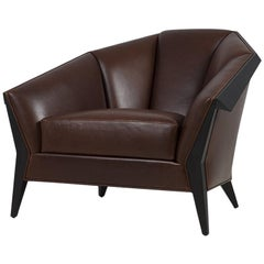 Main Office Armchair with Brown Genuine Leather