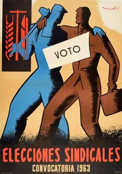 Original Vintage Poster Elecciones Sindicales Voto Spanish Union Elections Vote