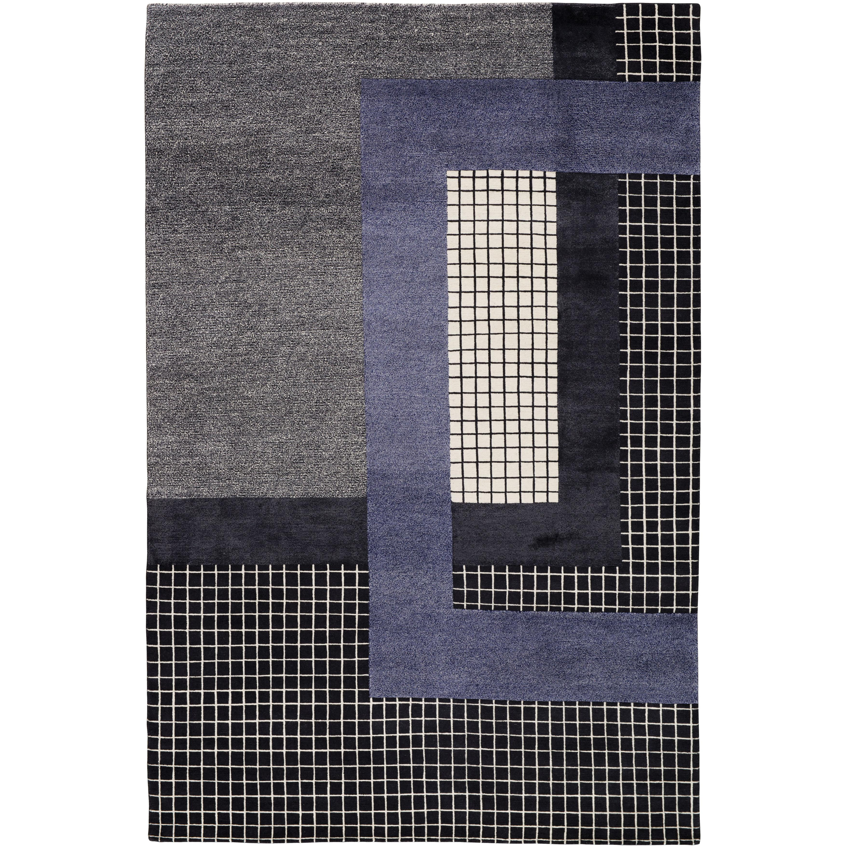 Mainland Dark Hand-Knotted 10x8 Rug in Wool and Silk by Sebastian Herkner