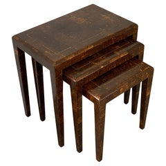 Mainland Smith Coconut Shell and Brass Inlay Nesting Tables